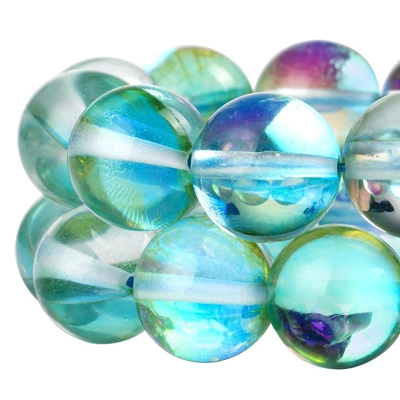 RUBYCA?Round?Moonstone?Crystal?Glass?Beads?Aura?Iridescent?for Jewelry Making?(1?strand,?6mm,?Green)