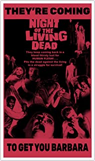 """Night The Living Dead Red 13""""x22"""" Vintage Style Showprint Poster - Concert Bill - Home Nostalgia Decor Wall Art Print"""
