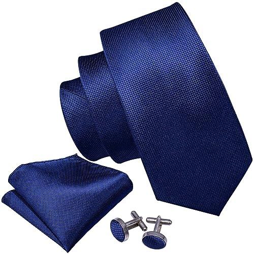 1d7672a8905b Wang Men Ties Silk Handkerchief Cufflink Necktie Set Plain Solid Color