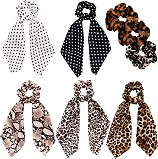 Scarf Scrunchies Women Hair Ties - Satin Silk Hair Scarves Scrunchys Bow Leopard Ribbon Scrunchy with Tails For Thick Hair No Crease Accessories Soft Ropes Ponytail Holder with Designs Long Ponytail H