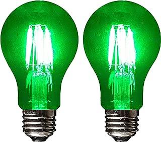 SleekLighting LED 6Watt Filament A19 Green Colored Light Bulbs Dimmable – UL Listed, E26 Base Lightbulb – Energy Saving - Lasts for 25000 Hours - Heavy Duty Glass - 2 Pack