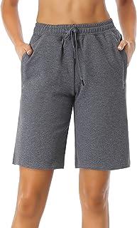 SEVEGO Women's 10'' Inseam Cotton Lounge Bermuda Shorts with Pockets Active Workout Casual Pamaja Walking Shorts