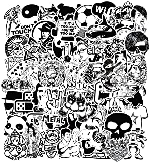 Modou Autocollants [120 pcs], Noir Blanc Graffiti Vinyle Autocollants pour Ordinateur..