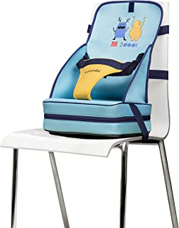 Suavinex - Alzador de Asiento Bebé con Diseño de Monstruitos BOOO. Trona de Viaje Portátil. Tejidos de Neopreno/Elevador +6 Meses, Color Azul