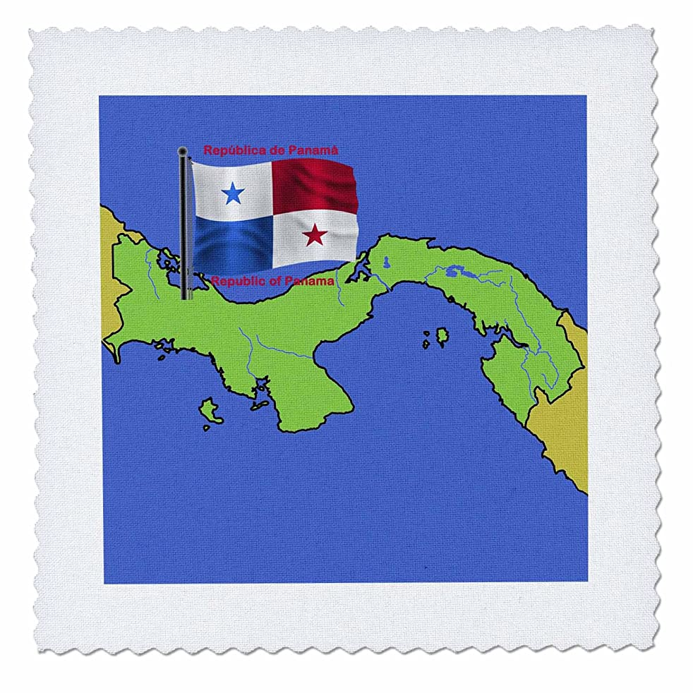 3dRose qs_47677_2 Flag and Map of Panama with Republic of Panama Printed in Both English and Spanish Quilt Square, 6 by 6-Inch