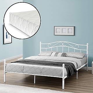 [en.casa] Cadre de Lit avec Matelas Lit Double en Métal Acier Revêtu par Poudre Fritté Blanc 208 cm x 186 cm x 84 cm