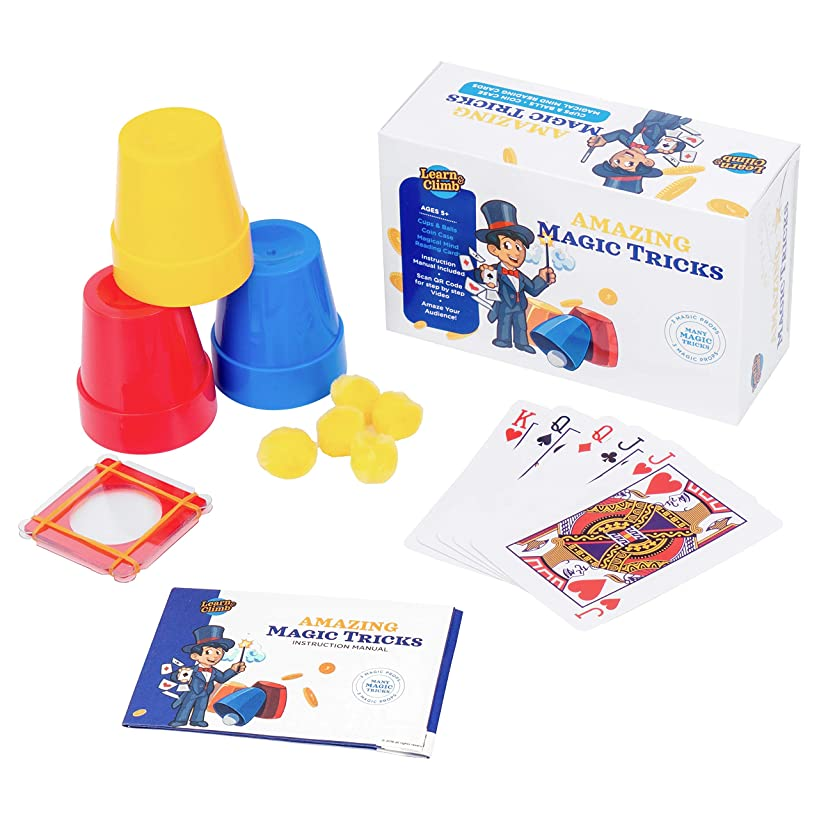 Learn & Climb Amazing Magic Tricks for Kids Age 7,8,9,10- Set of 3 Unique Props kit Includes Cups & Balls Trick, Escaping Coin Trick, Magical Mind Reading Cards Illusion & Easy Instructions.
