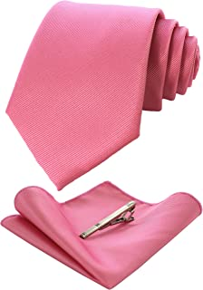 RBOCOTT Solid Color Tie and Pocket Square, Tie Clip Set for Men