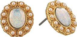 Blue by Betsey Johnson Pearl and Gold Tone Statement Stud Earrings