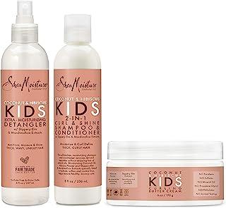 SheaMoisture Kids Shampoo, Detangler and Cream For Moisture and Shine Coconut and Hibiscus Sulfate Free Kids Shampoo and C...