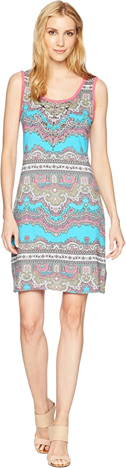 Printed Jersey Sleeveless Dress with Beading