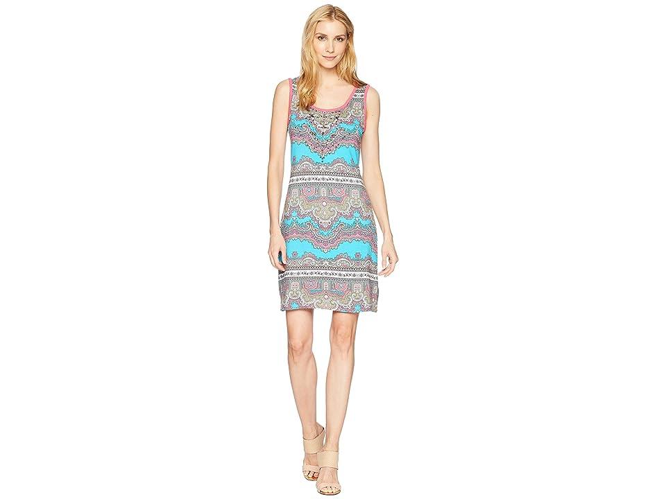 Tribal Printed Jersey Sleeveless Dress with Beading (Hi Pink) Women