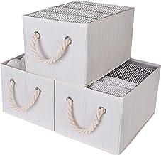 StorageWorks Storage Bins with Cotton Rope Handles, Foldable Storage Basket, White, Bamboo Style Large White