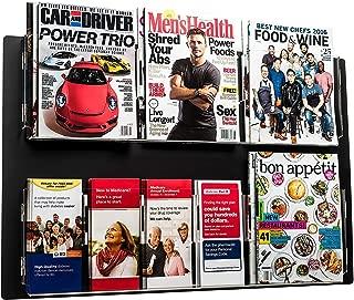 AdirOffice Hanging Magazine Rack - Wall Mounted Newspaper & Brochure Holder - Durable, Adjustable, Clear Acrylic Storage Pockets - Easy Installation (29'' x 23'', Black)