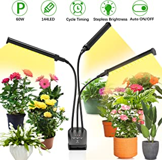 Grow Light for Indoor Plant,BEIEN 60W 144 LED Auto ON/Off Timer Full Spectrum Plant Lights 3/6/12H Cycle Timing Stepless Dimmable Brightness 4 Switch Modes,Tri Head Adjustable Gooseneck
