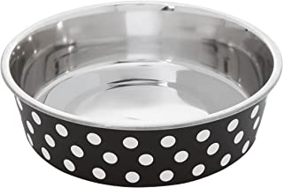 Petface Bella Stainless Steel Food or Water Bowl for Dogs, Black/White
