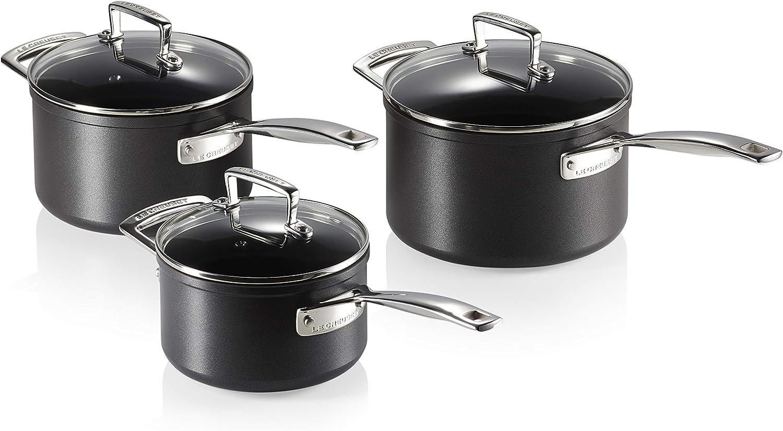 Le Creuset Toughened Non-Stick Saucepan Set with Lids- 3 Pieces, Ø 16, 18, 20 cm, Black