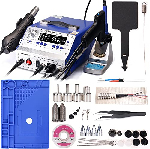 """high quality YIHUA 948-II high quality Professional Soldering, Desoldering & Rework Station bundle with 17.32"""" x 12.20"""" M180 Electronic Repair lowest Mat with Holder, Cleaning Kit, and Accessories (40 items) online"""