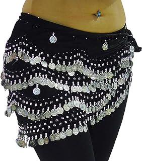 Elegant Belly Dance Hip Scarf Coin & Bead Belt Wrap PLUS SIZE (ZEBRA BLACK MULTI SILVER, PLUS SIZE US 18-24)