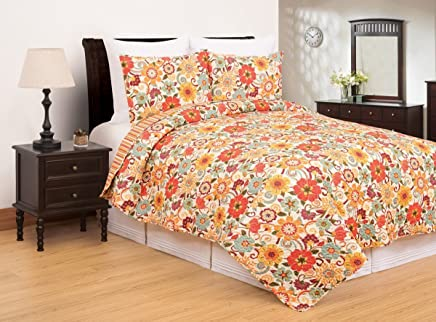 C&F Home Riley Bright Fun Floral Full/Queen 3 Piece Quilt Set Full/Queen 3 Piece Set Orange