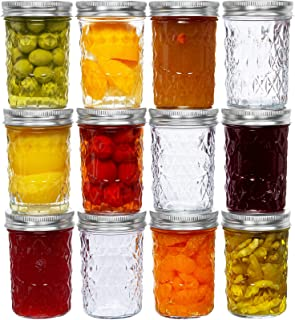8 Oz Mason Jars Glass Regular Mouth Canning Jars with Airtight Lids & Band, Quilted Crystal Jelly Jars for Jams, Food Stor...