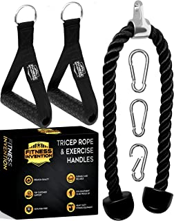 اتصالات کابل طناب Tricep 35 اینچ با 2 دسته تمرین 3 کلیپ کارابین - ضمیمه های دستگاه کابل - طناب Tricep Pull Down - اتصالات کابل برای بدنسازی ، لوازم بدنسازی خانگی
