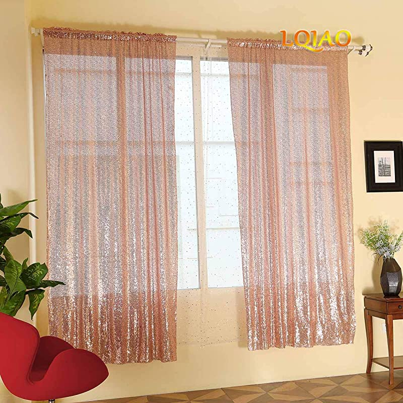 LQIAO 2019 New Sequin Rose Gold Curtains 50x84in Sparkly Rose Gold Fabric Photography Backdrop For Bedroom Kitchen Kids Room Or Living Room 1 Panel Drape 50x84in