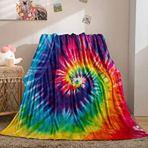 Bedbay Pink Tie Dye Blankets for Teen Girls Rainbow Blanket Blue Pink Psychedelic Pattern Soft Lightweight Bed Sofa Couch Floor Tie Dye Throw Blanket(Rainbow, Throw(50