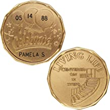 HPRS Personalized Custom Engraved (Name & Date) - Celebrate Living Life - Center On 12 Steps - Bronze AA (Alcoholics Anonymous)-ACA-AL-ANON-Sober-Sobriety-Birthday-Anniversary-Recovery-Medallion-Chip