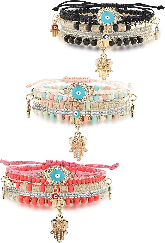 HANPABUM 3 Sets Bohemian Beaded Bracelets Set for Women Men Multilayer Hamsa Hand Evil Eye Charms Stretch Stackable Bracelet