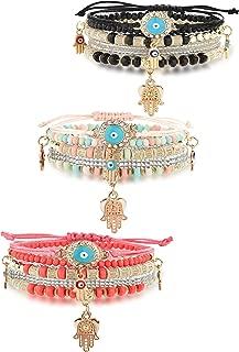 3 Sets Bohemian Beaded Bracelets Set for Women Men Multilayer Hamsa Hand Evil Eye Charms Stretch Stackable Bracelet