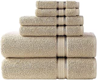COTTON CRAFT Ultra Soft 6 Piece Towel Set Linen, Luxurious 100% Ringspun Cotton, Heavy Weight & Absorbent, Rayon Trim - 2 ...