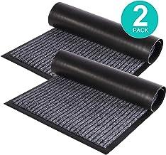 ZUCI 2-Pack Striped Door Floor Mat - Indoor Outdoor Rug Entryway Welcome Mats with Rubber Backing for Shoe Scraper, Ideal ...