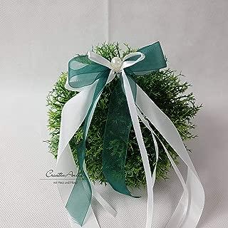 10 Stück Autoschleifen - Antennenschleifen - Spiegelschleifen Hochzeit Dunkelgrün mit Weiß oder Creme