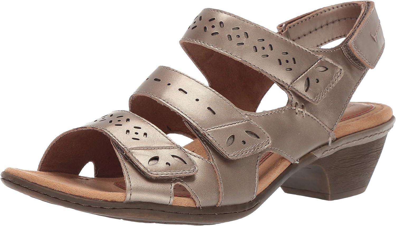 Rockport Women's Ch Verona 3 Strap shoes, 11 B(M) US, Platinum