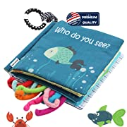 Sea Animal Fabric Cloth Book,Soft Tails books(Fishy Tails),Soft Activity Crinkle Book Toys for Early Education for Babies,Toddlers,Infants,Kids with Teether Ring,Teething Book Baby Shark,Octopus, Fish