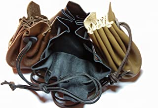 Auroris Mittelalterlicher Lederbeutel aus hochwertigem Rinds-Nappaleder Farbe: schwarz
