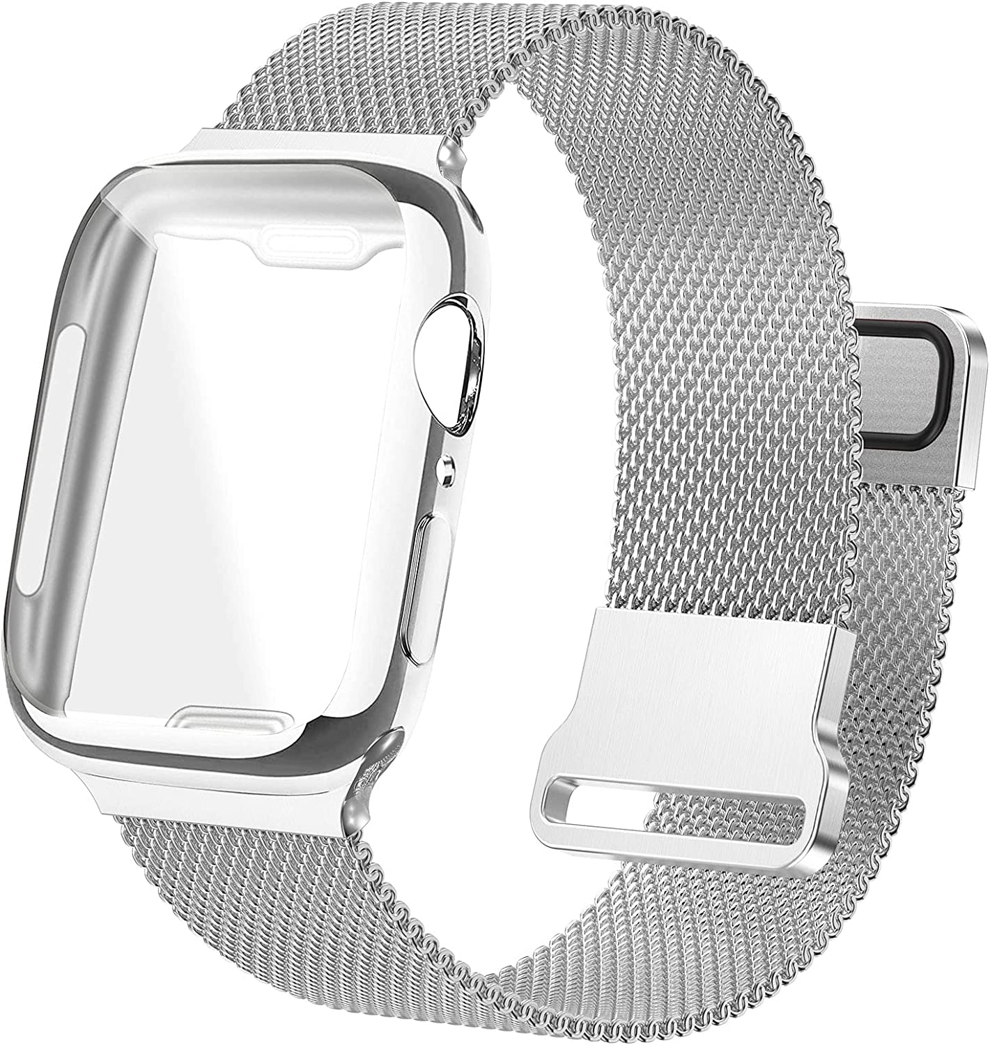 Bifeiyo Stainless Steel Band with Case Compatible with Apple Watch Bands 42mm for Women Men, Adjustable Magnetic Milanese Mesh Metal Strap for iWatch Series 6/5/4/3/2/1 SE [Silver]
