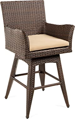 Best Choice Products Outdoor All-Weather PE Wicker 360-Degree Counter-Height Swivel Bar Stool Patio Furniture for Deck, Pool