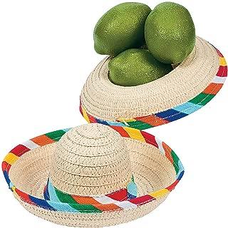 Fun Express Mini Sombrero Hats - Mexican Party Decor - Tabletop Party Supplies - 12 Pack