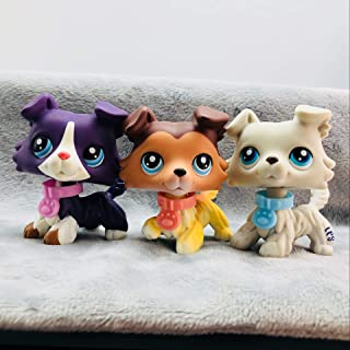 Vspiderman LPS Collie #1676#363#58 Raised Paw Sage Dogs Set of 3 with Accessories Collection Rare Toys Gift Figure