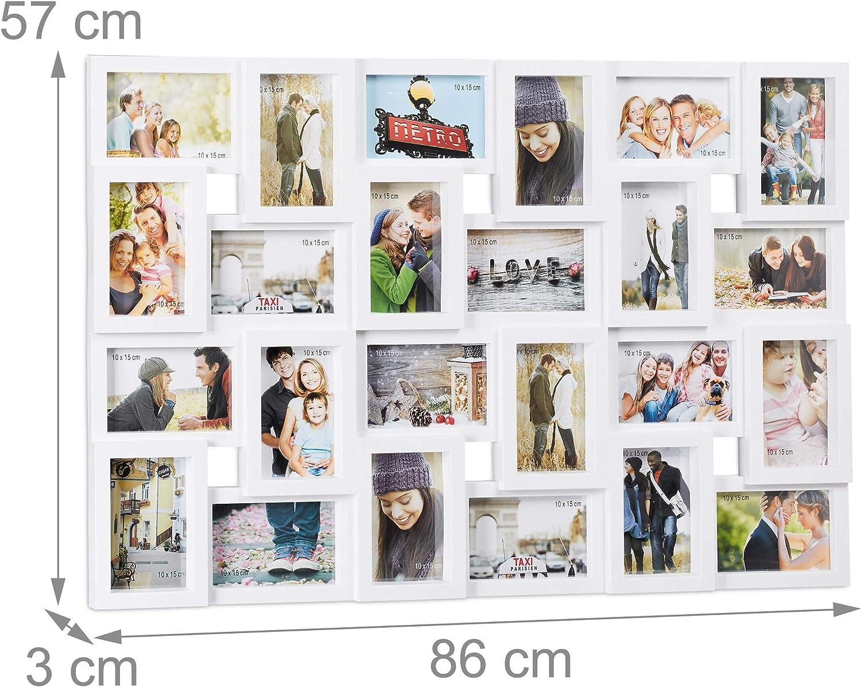 wei/ß Hoch- oder Querformat Relaxdays XXL Bilderrahmen Collagen f/ür 24 Bilder in 10 x 15 Kunststoff HxB 57 x 86 cm