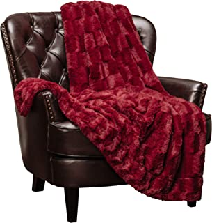 Chanasya Super Soft Fuzzy Faux Fur Elegant Rectangular Embossed Throw Blanket | Fluffy Plush Sherpa Cozy Microfiber Red Blanket for Bed Couch Living Room Fall Winter Spring (50x65) - Maroon