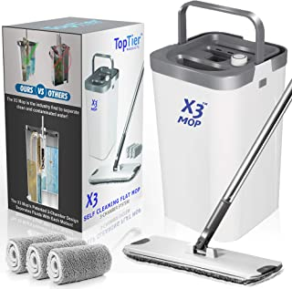 Top Tier Products X3 Flat Mop and Bucket System, 3-Chamber Design, Hands Free Self Cleaning System, 3 Washable & Reusable ...