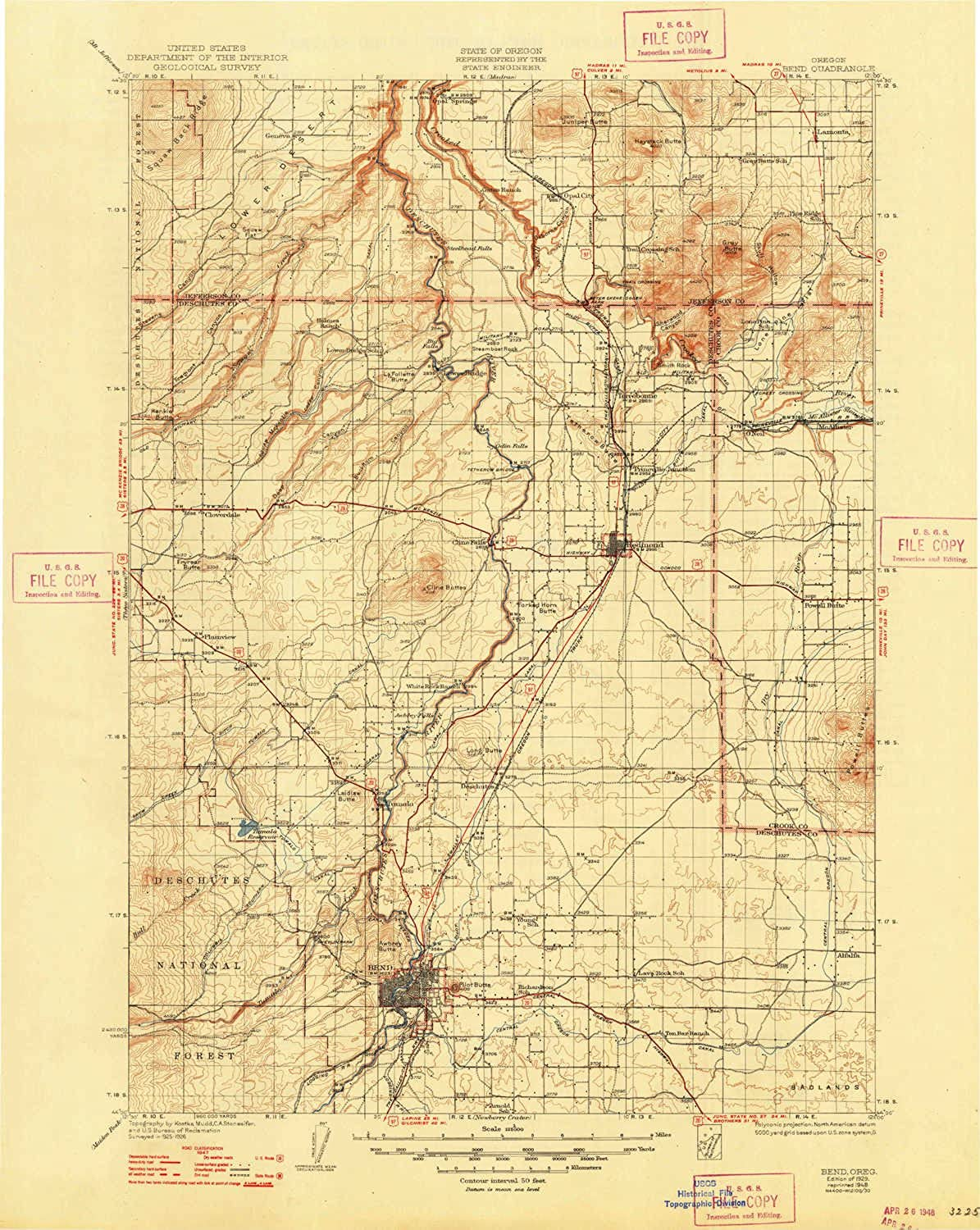 Bend OR topo map, 1 125000 Scale, 30 X 30 Minute, Historical, 1929, Updated 1948, 20.8 x 16.6 in