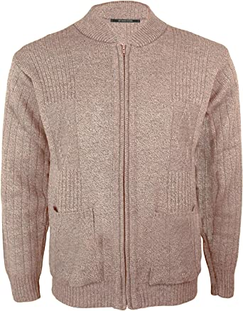 Mens Vintage Classic Style Cardigan Plain Casual Design Zip Up Thick Knit Warm Winter Grandad Sweater Knitted V Neck Zipper Cardi Long Sleeve Knitwear Jumper with Pockets Size S-2XL