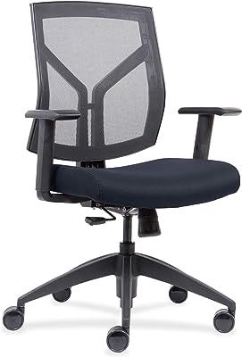 Lorell Mid-Back wth Mesh Back & Fabric Seat Chair, Dark Blue (Or Midnight Blue)