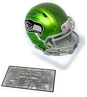 Russell Wilson Seattle Seahawks Signed Autograph Rare BLAZE Speed Mini Helmet RWilson Certified