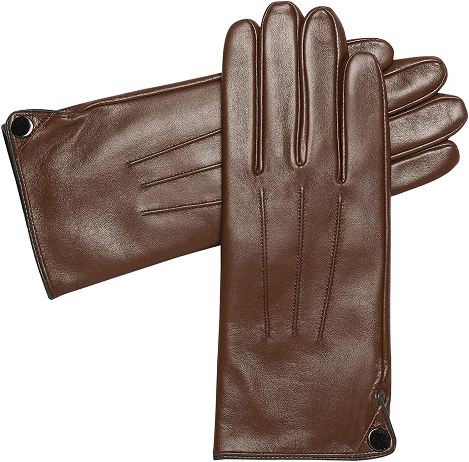 Womens Winter Luxury Sheepskin Leather Gloves - Acdyion Touchscreen Windproof Dress Driving Gloves With Cashmere Lining