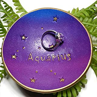 Aquarius Zodiac Ring Dish-Trinket Dish- Polymer Clay Jewelry Dish, Gifts for Her, Birthday
